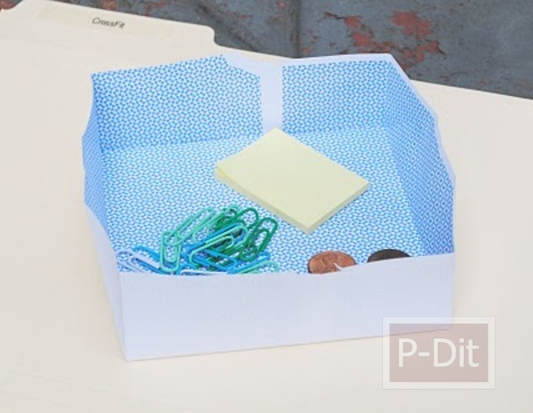 รูป 6 วิธีพับกล่องใส่เงินเหรียญ คลิปหนีบกระดาษ
