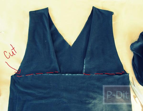 รูป 3 ไอเดียตกแต่งเสื้อยืดเก่า เป็นเสื้อแขนกุด โชว์หลัง