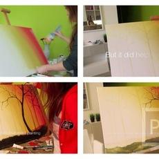 สอนวาดรูปสวยๆ ต้นไม้ กลางป่า เมื่อพระอาทิตย์ขึ้น