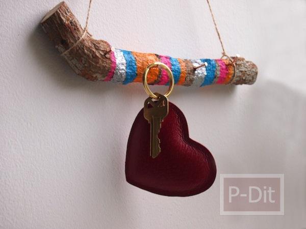 รูป 1 ไอเดีย ทำที่แขวนกุญแจ จากกิ่งไม้
