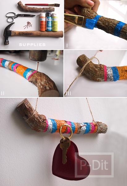 รูป 2 ไอเดีย ทำที่แขวนกุญแจ จากกิ่งไม้