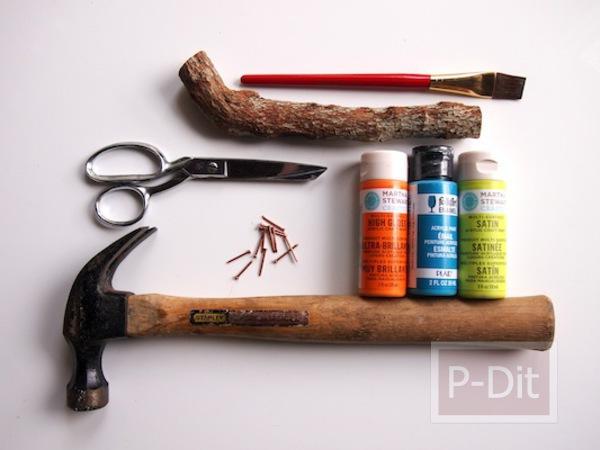 รูป 5 ไอเดีย ทำที่แขวนกุญแจ จากกิ่งไม้