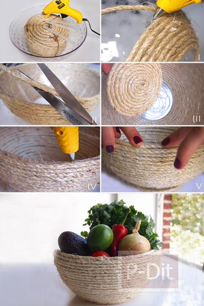 รูป 2 ตกแต่งชามใส่ผัก ผลไม้ ด้วยเชือก