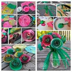 ทำดอกกุหลาบ จากถุงกระดาษ