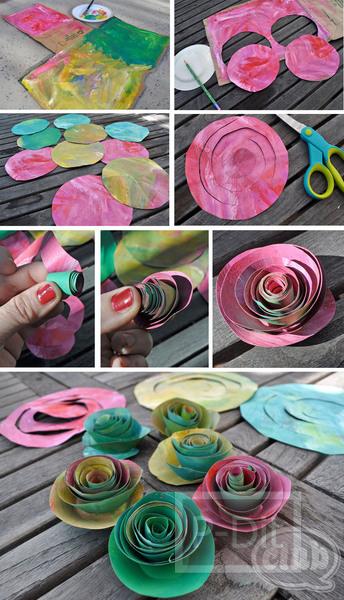 รูป 3 ทำดอกกุหลาบ จากถุงกระดาษ