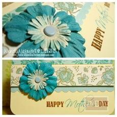 การ์ดวันแม่ โทนสีฟ้า มีดอกติด