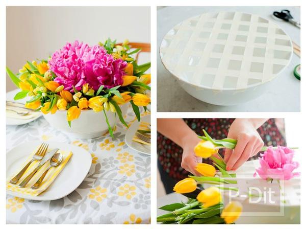 รูป 1 สอนจัดดอกไม้ ในชามปากกว้าง