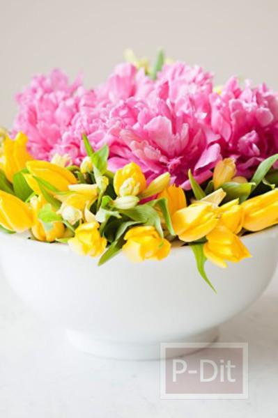 รูป 2 สอนจัดดอกไม้ ในชามปากกว้าง