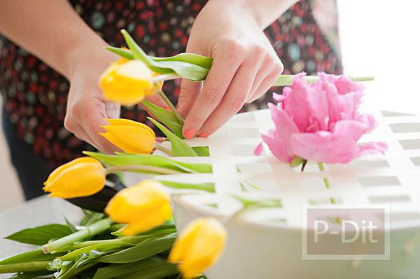 รูป 5 สอนจัดดอกไม้ ในชามปากกว้าง