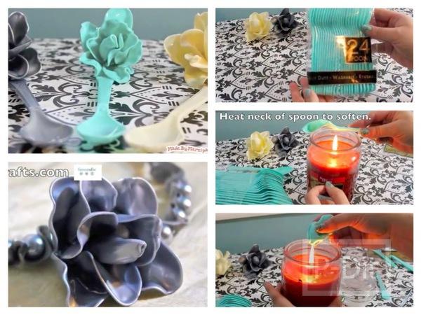รูป 1 ประดิษฐ์ดอกไม้พลาสติก จากช้อนพลาสติกสีสวย