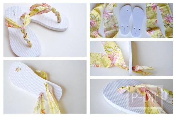 รูป 1 ตกแต่งรองเท้าแตะ ด้วยผ้าสีสวย