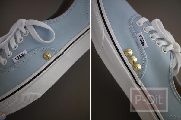 รูป 5 ไอเดียตกแต่งรองเท้าคู่สวย ด้วยหมุดสีทอง