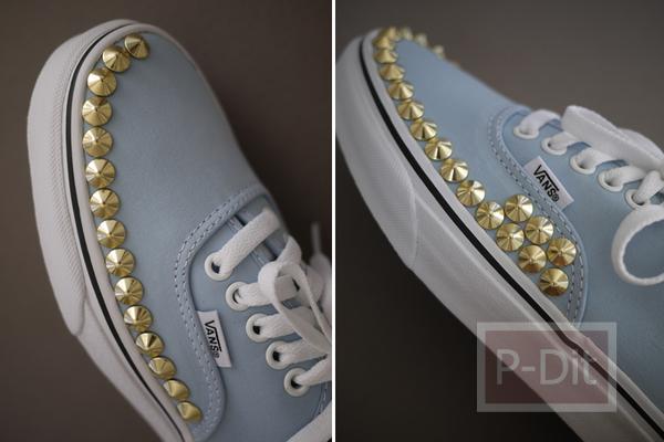 รูป 6 ไอเดียตกแต่งรองเท้าคู่สวย ด้วยหมุดสีทอง