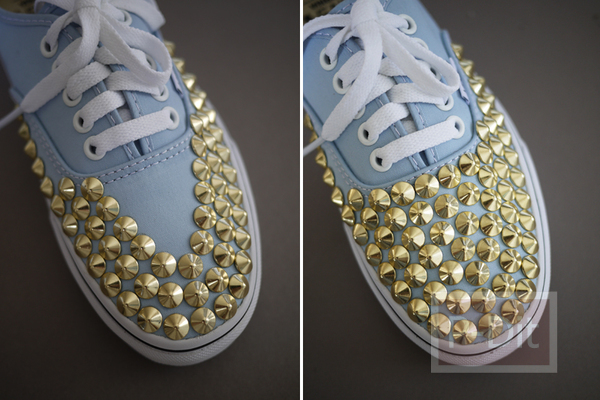 รูป 7 ไอเดียตกแต่งรองเท้าคู่สวย ด้วยหมุดสีทอง