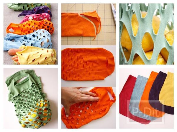 รูป 1 ทำถุงผ้า ใส่ผักผลไม้ จากเสื้อยืดตัวเก่า