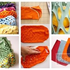 ทำถุงผ้า ใส่ผักผลไม้ จากเสื้อยืดตัวเก่า