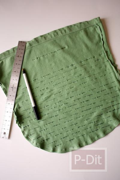 รูป 3 ทำถุงผ้า ใส่ผักผลไม้ จากเสื้อยืดตัวเก่า
