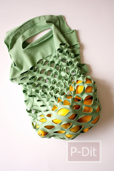 รูป 7 ทำถุงผ้า ใส่ผักผลไม้ จากเสื้อยืดตัวเก่า