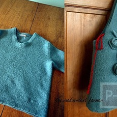 ประดิษฐ์ถุงใส่ไหมพรม จากเสื้อแขนยาวไหมพรม ตัวเก่า