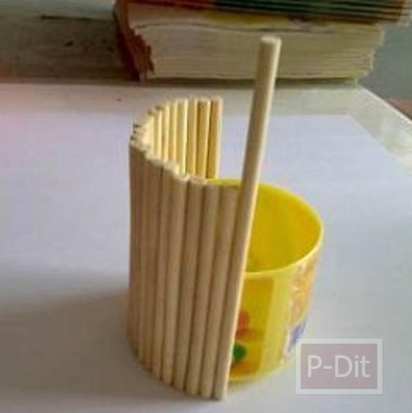 รูป 6 ประดิษฐ์ที่ใส่ดินสอ จากขวดเมนทอส