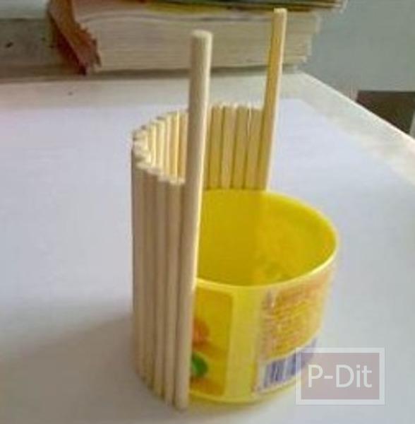 รูป 7 ประดิษฐ์ที่ใส่ดินสอ จากขวดเมนทอส