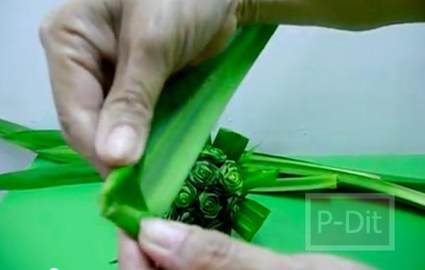 รูป 3 วิธีประดิษฐ์ดอกกุหลาบ จากใบเตย
