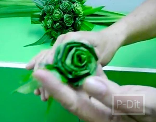 รูป 6 วิธีประดิษฐ์ดอกกุหลาบ จากใบเตย