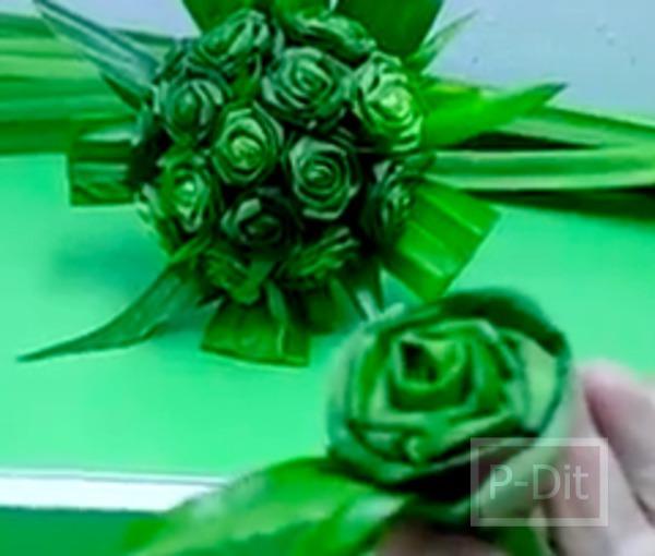 รูป 7 วิธีประดิษฐ์ดอกกุหลาบ จากใบเตย