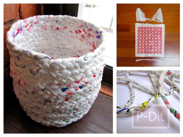 รูป 1 ถังขยะ ทำจากถุงพลาสติก