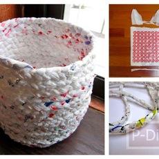 ถังขยะ ทำจากถุงพลาสติก