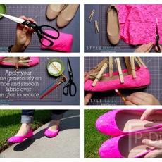 ตกแต่งรองเท้าคัชชู ด้วยผ้าลูกไม้สีสดใส