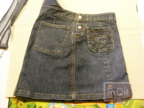 รูป 2 ทำกระเป๋าถือ จากกระโปรงเอี้ยมชุดเก่า