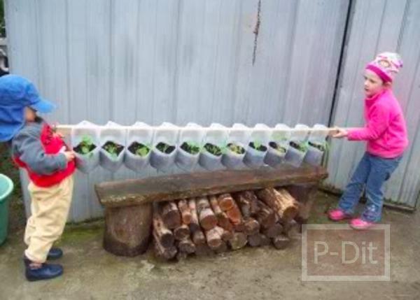 รูป 6 ทำกระถางต้นไม้ จากขวดนม