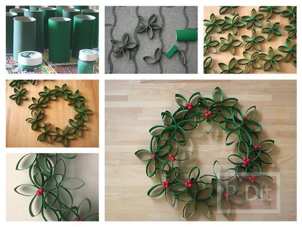 ทำดอกไม้ตกแต่งวันคริสต์มาส จากแกนกระดาษทิชชู