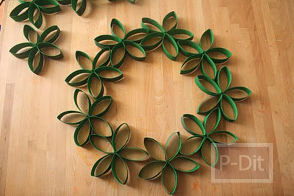 รูป 5 ทำดอกไม้ตกแต่งวันคริสต์มาส จากแกนกระดาษทิชชู