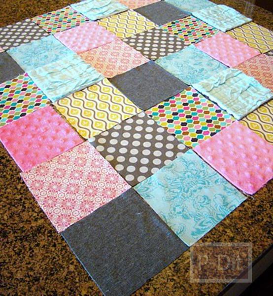 รูป 5 เย็บผ้าห่มผืนใหม่ ให้เด็ก จากเศษผ้า