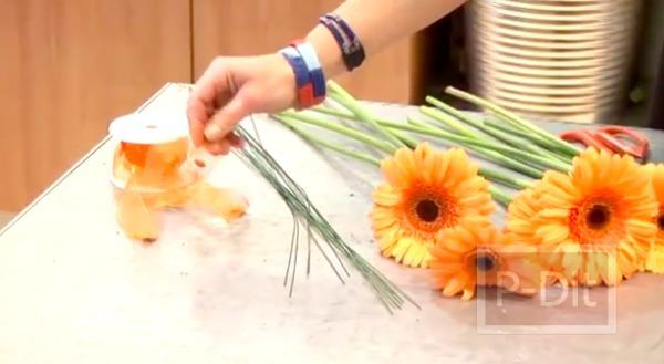 รูป 2 ไอเดียจัดดอกไม้สวยๆ ช่อดอไม้สีส้ม