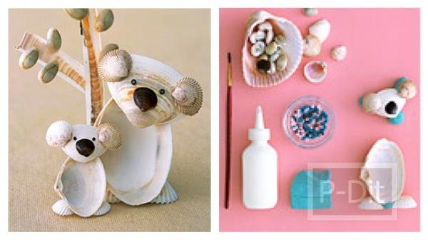 รูป 1 ประดิษฐ์ตุ๊กตาตั้งโต๊ะ จากเปลือกหอย