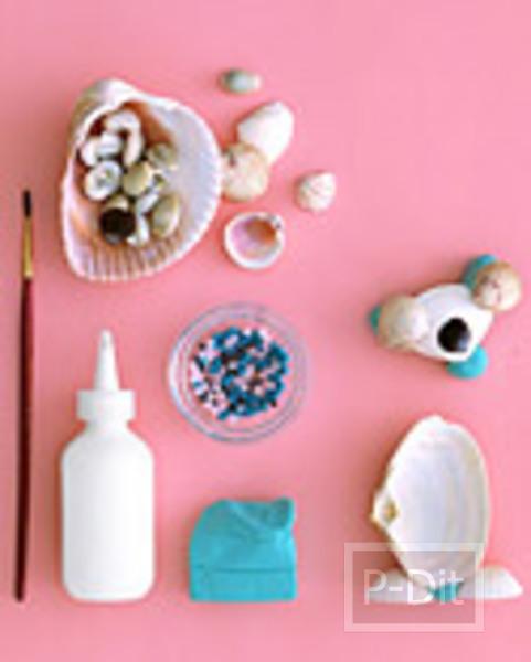 รูป 2 ประดิษฐ์ตุ๊กตาตั้งโต๊ะ จากเปลือกหอย