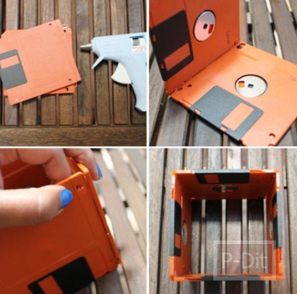 รูป 5 ตกแต่งกระถางต้นไม้ด้วย floppy disk