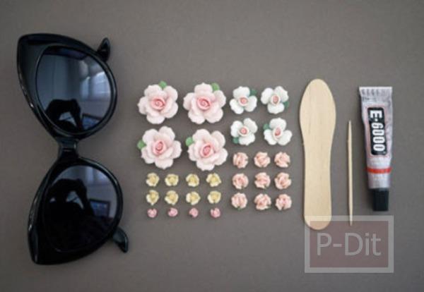 รูป 3 ตกแต่งแว่นตา ติดดอกไม้