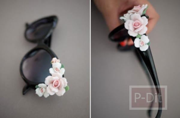 รูป 6 ตกแต่งแว่นตา ติดดอกไม้