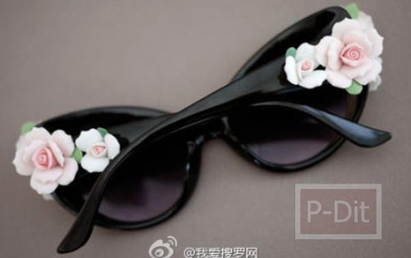 รูป 7 ตกแต่งแว่นตา ติดดอกไม้