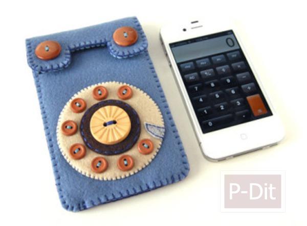 ทำซองใส่โทรศัพท์มือถือ จากเศษผ้า - กระดุม