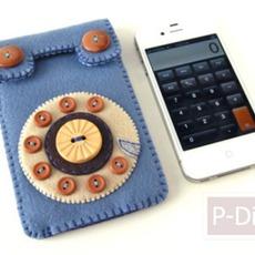 ทำซองใส่โทรศัพท์มือถือ จากเศษผ้า – กระดุม