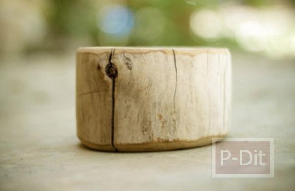 รูป 3 ทำที่ใส่ดินสอสี จากท่อนไม้