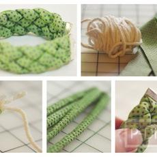 ทำสร้อยข้อมือ จากเชือกหุ้มด้วยเศษผ้า