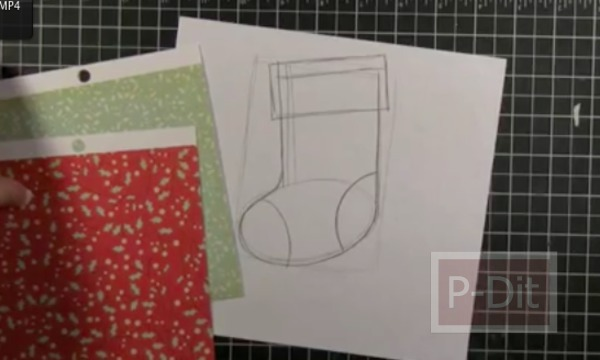 รูป 4 การ์ดคริสต์มาส ลายถุงเท้า