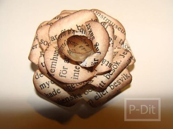 รูป 2 ทำดอกกุหลาบ จากกระดาษหนังสือพิมพ์