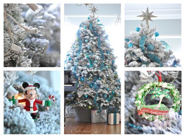 ไอเดียตกแต่งต้นคริสต์มาส สีเทา ขวา ฟ้า น้ำเงิน